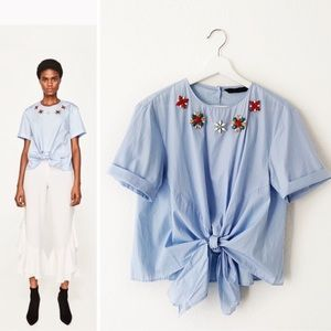 Zara Blue Poplin Blouse Jeweled Neck Tie Waist